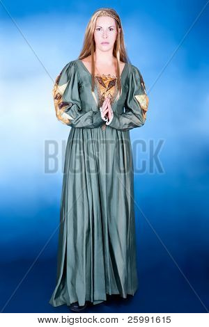 Great fancy-dress woman in Renaissance style, studio shot