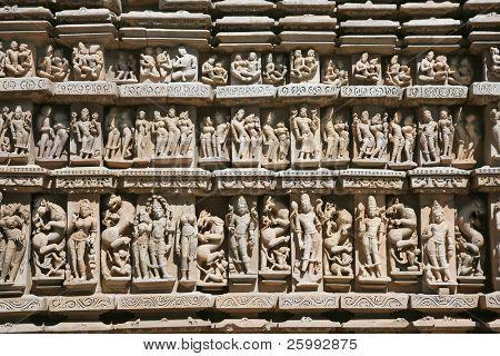 Detalle de Vishnavath templo, Khajuraho, Madhya Pradesh, India.