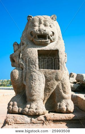 Huge  sculpted lion detail of Shore temple in Mamallapuram, Tamil Nadu , India