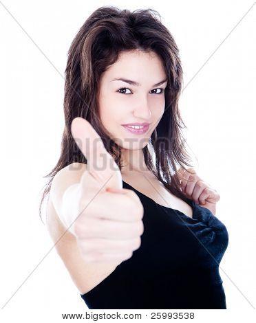 hübsches Mädchen zeigt Anzeichen mit Hand, isolated on White in Ordnung