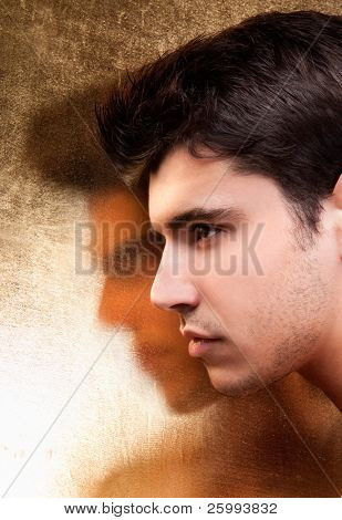 Close up  handsome man with gold shadow, art shot