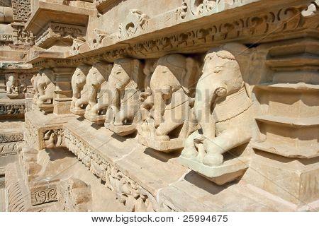 Detail of Vishnavath temple, Khajuraho, Madhya Pradesh, India.