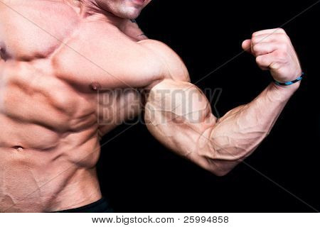 Bicep close up , isolated on black background