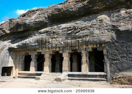Facade of ancient Ellora rock carved Buddhist temple, cave No.14  Aurangabad, Maharashtra, India