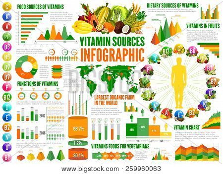 Poster Of Vitamin Sources Infographics Nutrition Statistical Charts And Diagrams A B K Vitamins In Food F
