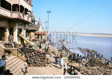 VARANASI, INDIA - 13 FEBRUARY: Manikarnika Ghat, main burning ghat, most auspicious place for Hindu to be cremated on banks of Ganges river, Uttar Pradesh, on  February 13, 2008 in Varanasi, India.
