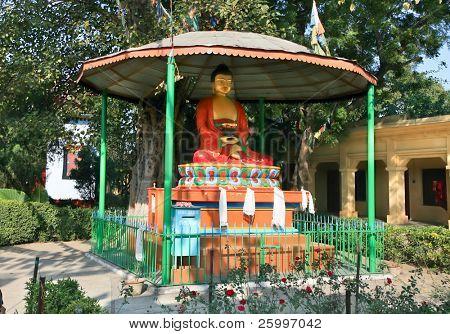 Buddha statue in  tibetan buddhist monastery Sarnath in holy Varanasi,  Uttar Pradeshi, India.