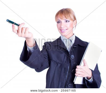 Portrait of business woman holding a folder and pen pointing to something, studio shot