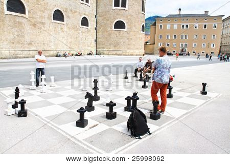 SALZBURG, AUSTRIA- MAY 28: Traditional street chess on central square iin Salzburg is tourists atraction on 28 May 2010 in Salzburg , Austria