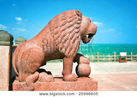 Huge  sculpted lion detail of Swami Vivekananda memorial, Mandapam, Kanyakumari, Tamil Nadu, India