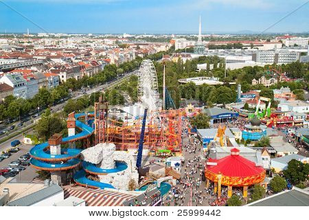 View of Vienna's Prater on Roller coaster and water toboggan in Vienna , Austria