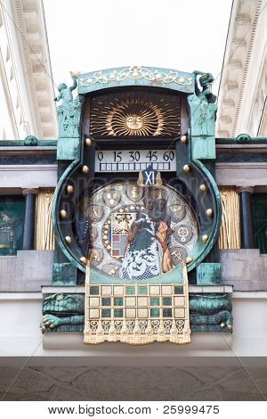 Famous astronomical clock in Vienna built by Franz Matsch in 1912-1914 at Hoher Markt. Every hour a famous person appears, including Marcus Aurelius and Charlemagne. Austria
