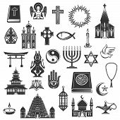 World Religions Symbols And Religious Signs. Vector Christianity Crucifix Cross And Orthodox Or Cath poster