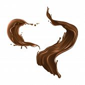 Set Of Hot Chocolate, Cacao Or Coffee Splash Realistic Illustration Isolated On White Background. Ap poster