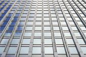 Bottom View Glass Grey Square Windows Of Modern City Business Building Skyscraper. Receding Perspect poster