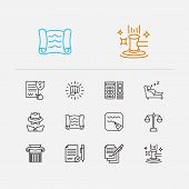 Legal Icons Set. Auction And Legal Icons With Scroll, Legal And Write. Set Of Achievement For Web Ap poster