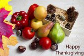 Thanksgiving Day Autumn Background With Happy Thanksgiving Letters, Seasonal Autumn Nature Berries,  poster