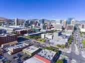 Aerial View Of Salt Lake City Downtown In Salt Lake City, Utah, Usa. poster