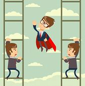 Up The Career Ladder . Staircase Rests Against Blue Sky. Development Motivation Career Growth Concep poster