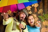 Man Bearded And Blonde Woman Lay On Wooden Background Top View. Rainy Weather Not Obstacle For Them. poster