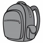 Black And White Backpack - A Vector Cartoon Illustration Of A Hiking Backpack. poster