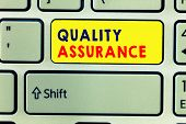 Handwriting Text Writing Quality Assurance. Concept Meaning Ensures A Certain Level Of Quality Estab poster