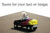 stock photo of blood drive  - a bichon frise dog drives her hot rod pedal car around town on the road with a vanishing point on white - JPG