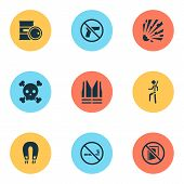 Safety Icons Set With Poison, Keep Door Closed, Forbidden And Other Ban Elements. Isolated  Illustra poster