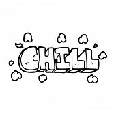 line drawing cartoon chill sign poster