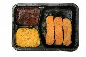 picture of frozen tv dinner  - frozen microwaveable  - JPG