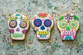 Dia De Los Muertos Concept - Skull Shaped Cookies With Colorful Decorations, Top View poster