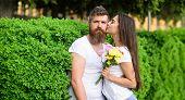 Gentle Kiss. Tender Romantic Feelings Beginning Of Relationship. Man Bearded Hipster Hugs Gorgeous G poster