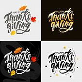 Happy Thanksgiving Lettering Calligraphy Brush Text Holiday Vector Sticker Gold Set poster