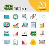 Graph Icon Set. Magnifier And Graph Growing Bar Chart Declining Bar Chart Venn Diagram Clipboard Fli poster
