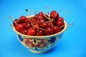 stock photo of bing  - fresh picked bing cherries in a bowl with a blue background - JPG