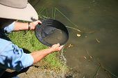 picture of gold panning  - gold panning - JPG
