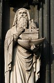 Gothic statue oh Noah with the Noah's Ark from the facade of the Cologne Cathedral, Germany