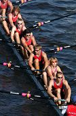 PRAGUE, - June 6: Junior rowing team rowing ahead during a boat-race in Prague, Czech Republic, on J