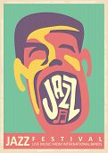 Jazz Music Festival Retro Poster Design With Singer Male Character Singing With Passion. Artistic Co poster