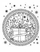 Christmas Mandala Coloring Page. Adult Coloring Book. Holiday Decore, Gifts, Balls And Ribbond. Hand poster
