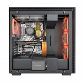 Open Computer With Red Lighting Effects And Water Cooled Cooling System On White Background 3d Rende poster