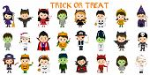 Mega Set Of Halloween Party Characters. Twenty Four Children In Different Costumes For Halloween On  poster