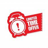Limited Time Offer Sticker - Ringing Alarm Clock, Sale Symbol poster