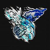 Graffiti Grunge Texture. Eps 10. Colored Hand Sketch Handshake In Graffiti Style. Vector Illustratio poster