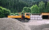 Truck For Construction Materials In The Forest. Construction Machinery In The Open Air. Sale Of Buil poster