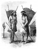 Native americans from Pimo or Pima tribe. Illustration originally published in Hesse-Wartegg's