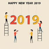 Business People Cartoon Character & Happy New Year 2019 Concept.happy New Year 2019.2019 Happy New Y poster
