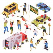 Isometric Zombie Apocalypse Attack Set With Isolated Human Characters Zombies With Broken Road Signs poster