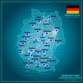 Map Of Germany. Bright Illustration With Map. Germany Map In Blue Colors With Lines Communications.  poster