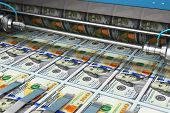 Printing 100 Us Dollar Usd Money Paper Cash Banknotes On Print Machine In Typography poster